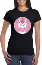 Dames t-shirt zwart met vrolijke eenhoorn print - Eenhoorns shirt M