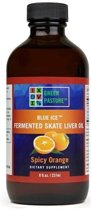 Green pasture's GREEN PASTURE BLUE ICE ™ Gefermenteerde rog lever olie, Sinaasappel smaak – 237 ml