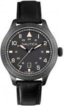Horlogeband Nautica A11107G Leder Zwart 22mm