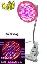 Ortho LED Groeilamp, Bloeilamp, Kweeklamp, Grow light, groei lamp, upgraded 200 LED Full spectrum lamp met flexibele lamphouder / klem spotje