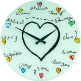 NeXtime Loving You - Klok - Rond - Glas - Ø43 cm - Wit