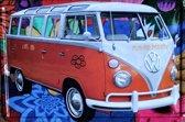 METALEN WANDBORD - VW BUS FLOWER POWER -RECLAMEBORD - MUURPLAAT - VINTAGE - RETRO - WANDDECORATIE -TEKSTBORD - DECORATIEBORD - RECLAME  - NOSTALGIE - AUTO- 30 x 20 cm - nr 6061