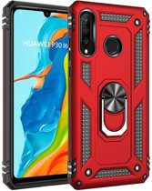 Teleplus Huawei P30 Lite Vega Ringed Tank Cover Case Red hoesje
