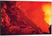 Dibond –Binnenkant Vulkaan– 120x80 Foto op Aluminium (Wanddecoratie van metaal)
