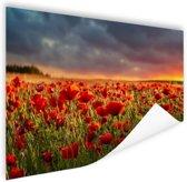 Klaprozen veld bij zonsondergang Poster 60x40 cm - Foto print op Poster (wanddecoratie woonkamer / slaapkamer) / Bloemen Poster