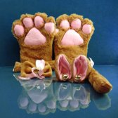 Bruine Katten Set - 4-delig - oren, staart, poten, strikje - PinkPonyClubnl