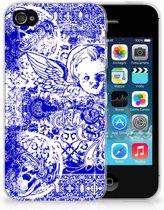 Apple iPhone 4   4s Uniek TPU Hoesje Angel Skull Blue