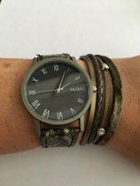 Petra's Sieradenwereld - Horloge met leren armband groen (1)