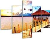 Glasschilderij Zee | Geel, Blauw, Bruin | 100x70cm 5Luik | Foto print op Glas |  F002408