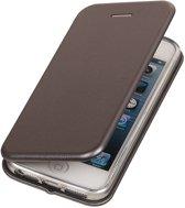 BestCases.nl Grijs Premium Folio leder look booktype smartphone hoesje voor Apple iPhone 5 / 5s / SE