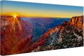 Grand Canyon National Park zonsondergang Canvas 120x80 cm - Foto print op Canvas schilderij (Wanddecoratie woonkamer / slaapkamer)