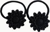 Jessidress Bloemen Elastiekjes Dames Haar Elastieken met glitters - Zwart