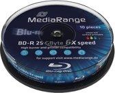 Bluray MediaRange 25GB 10pcs BD-R Spindel Injekt Prin. 6x