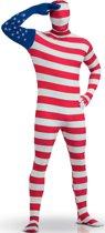 Amerikaanse vlag second skin kostuum voor volwassenen  - Verkleedkleding - 164/176