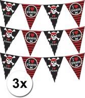 3 vlaggenlijnen piraten zwart met rood - slingers