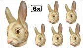 6x Masker konijn plastic volwassen