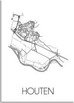 DesignClaud Houten Plattegrond poster A3 + Fotolijst wit