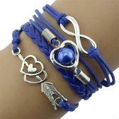 Fako Bijoux® - Multi Armband - Infinity Hart Cupido - Blauw