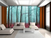 Fotobehang Papier Bos, Natuur | Blauw | 368x254cm