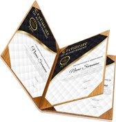 Rapportmap / Diplomamap / Certificaat Mappen - 4x A4 - Houtpatroon Bruin
