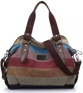 Miss Lulu canvas hand-schoudertas Rainbow Stripes