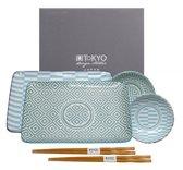 Tokyo Design Studio Geo Eclectic Plate Set 6stuk(s) Porselein Blauw, Wit servies