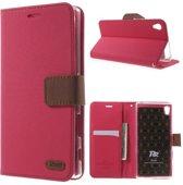 Roar Sony Xperia Z5 Hoesje Wallet case hoesje Denim roze