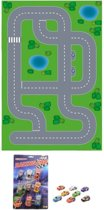 Speelgoed stratenplan wegplaten dorp XL set karton met auto speelsetje - Kartonnen DIY wegen speelkleed