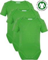 Link Kidswear - Unisex korte mouw romper van biologisch GOTS katoen - maat 74/80 - lime groen - 3 stuks