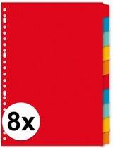 Kartonnen tabbladen A4 - 80 stuks - 23 rings/ gaats - gekleurde tabbladen