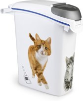 Curver Kattengritcontainer - Kattenprint - Wit - 23L