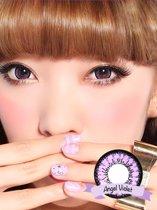 Kleurlenzen Geo Medicals - Angel Violet - Big Eyes Circle Lenzen CM-831 - Jaarlenzen 2x Sterkte  0.00
