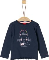 S Oliver Meisjes T-shirt Lange mouw - donkerblauw - Maat 62
