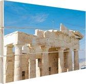Akropolis Athene Hout 160x120 cm - Foto print op Hout (Wanddecoratie) XXL / Groot formaat!