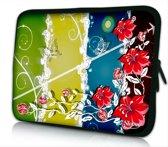 Sleevy 14 laptophoes rode bloemen - laptop sleeve