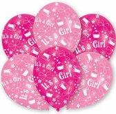 Roze geboorte ballonnen meisje 6 stuks - Meisje geboren versieren