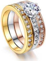 Band ringen drie kleuren met zirkonia
