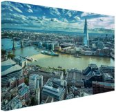 Skyline Londen bij dag Canvas 120x80 cm - Foto print op Canvas schilderij (Wanddecoratie woonkamer / slaapkamer) / Steden Canvas Schilderijen