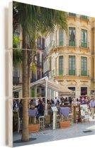 Straatbeeld van Málaga de grootste stad van Andalusië Vurenhout met planken 60x80 cm - Foto print op Hout (Wanddecoratie)