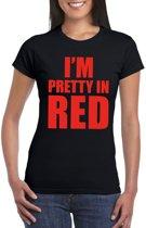 I'm pretty in red t-shirt zwart dames L