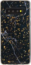 Shop4 - Samsung Galaxy S10 Plus Hoesje - Zachte Back Case Marmer en Goud Flakes Transparant