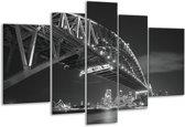 Glas schilderij Steden, Brug | Zwart, Wit, Grijs | 170x100cm 5Luik | Foto print op Glas |  F006360