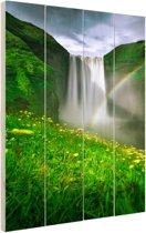 Regenboog voor de waterval Hout 60x80 cm - Foto print op Hout (Wanddecoratie)