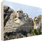 Het beroemde monument Mount Rushmore tijdens een zonnige dag Vurenhout met planken 90x60 cm - Foto print op Hout (Wanddecoratie)