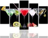 Schilderij - Cocktails, multikleur, 5 delen