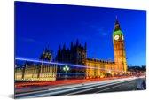 Drukte in de straten langs de Big Ben in Londen Aluminium 90x60 cm - Foto print op Aluminium (metaal wanddecoratie)