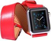 Kakapi Leren bandje - Apple Watch Series 1/2/3/4 (38&40mm) - Rood