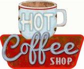 Signs-USA Hot Coffee Shop - Retro Wandbord - Metaal - 29x35 cm
