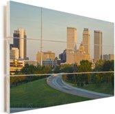 Zonnige dag in het Amerikaanse Tulsa Vurenhout met planken 90x60 cm - Foto print op Hout (Wanddecoratie)