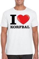 I love korfbal t-shirt wit heren 2XL